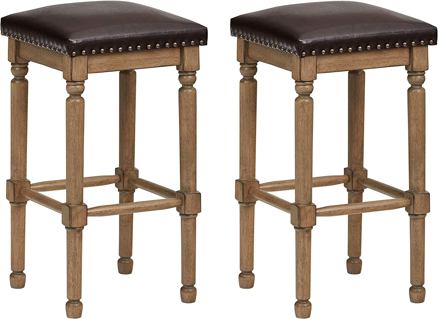 Ravenna Home Ferris Nailhead Wood Detailed Counter Stool, 26.75 H, Weathered Oak with Faux Brown Leather (2 Pack)