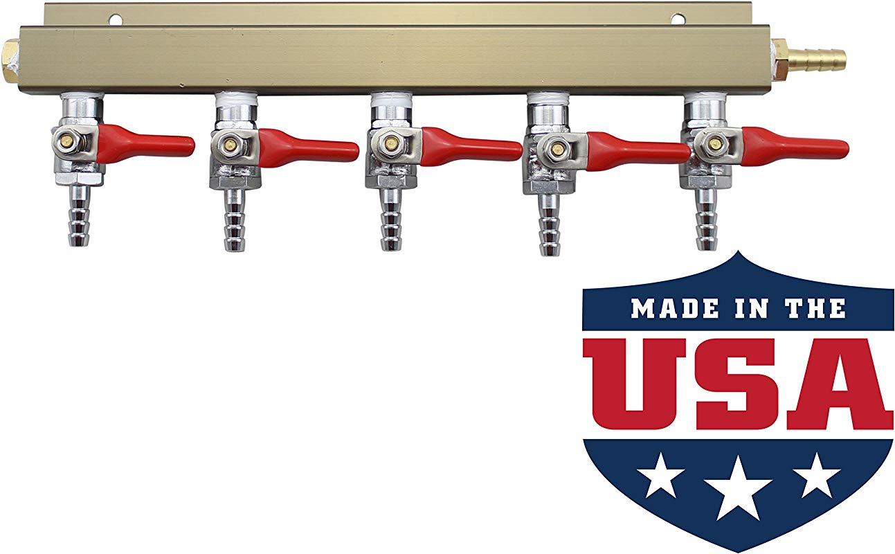 The Weekend Brewer 5 Way 1 4 Barb CO2 Distributor Manifold With Integrated Check Valves