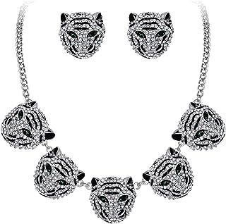 Ever Faith, set di orecchini da donna con collana e orecchini a perno con testa di tigre