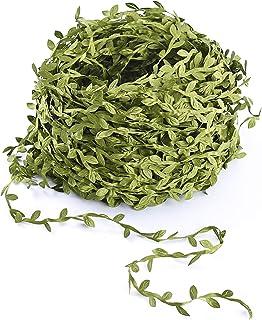 Amkun - Enredaderas artificiales con hojas de ratán verde (accesorio para boda, pared, manualidades, decoración de fiestas), 40 m