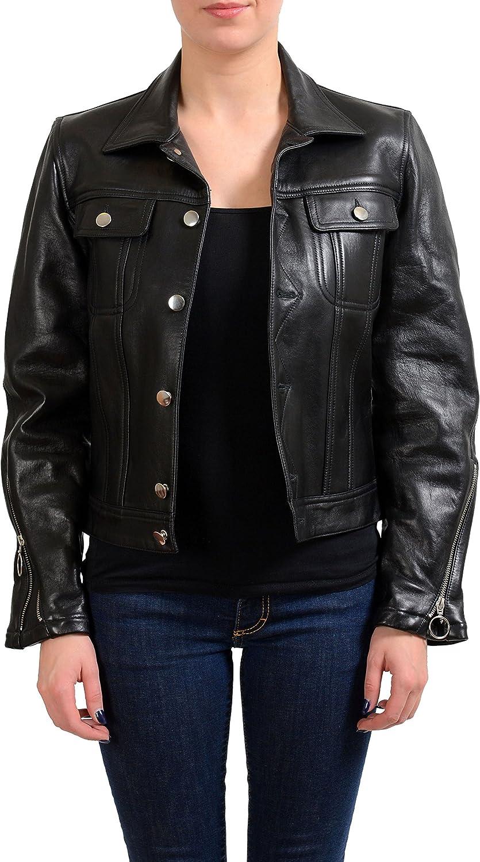 Maison Margiela MM6 100% Leather Black Women's Basic Jacket US M IT 42