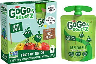 GoGo squeeZ Applesauce, Apple Apple, 3.2 Ounce (48 Pouches), Gluten Free, Vegan Friendly, Unsweetened Applesauce, Reclosea...