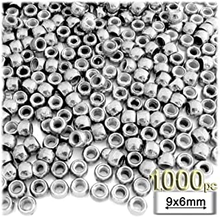 1,000pc Plastic Round Metallic Pony Beads 9x6mm Silver Beads