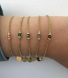 Donna braccialetto gourmet pietra naturale e 24k perle Heishi placcate in oro, braccialetto d'oro, idea regalo, bracciale ...