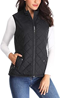 MISS MOLY Women Lightweight Quilted Padded Vest Stand Collar Zip Up Winter Outwear Gilet