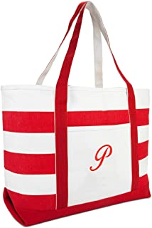 DALIX Beach Tote Bag Shoulder Bags Striped Monogrammed Red Ballent Letter A - Z