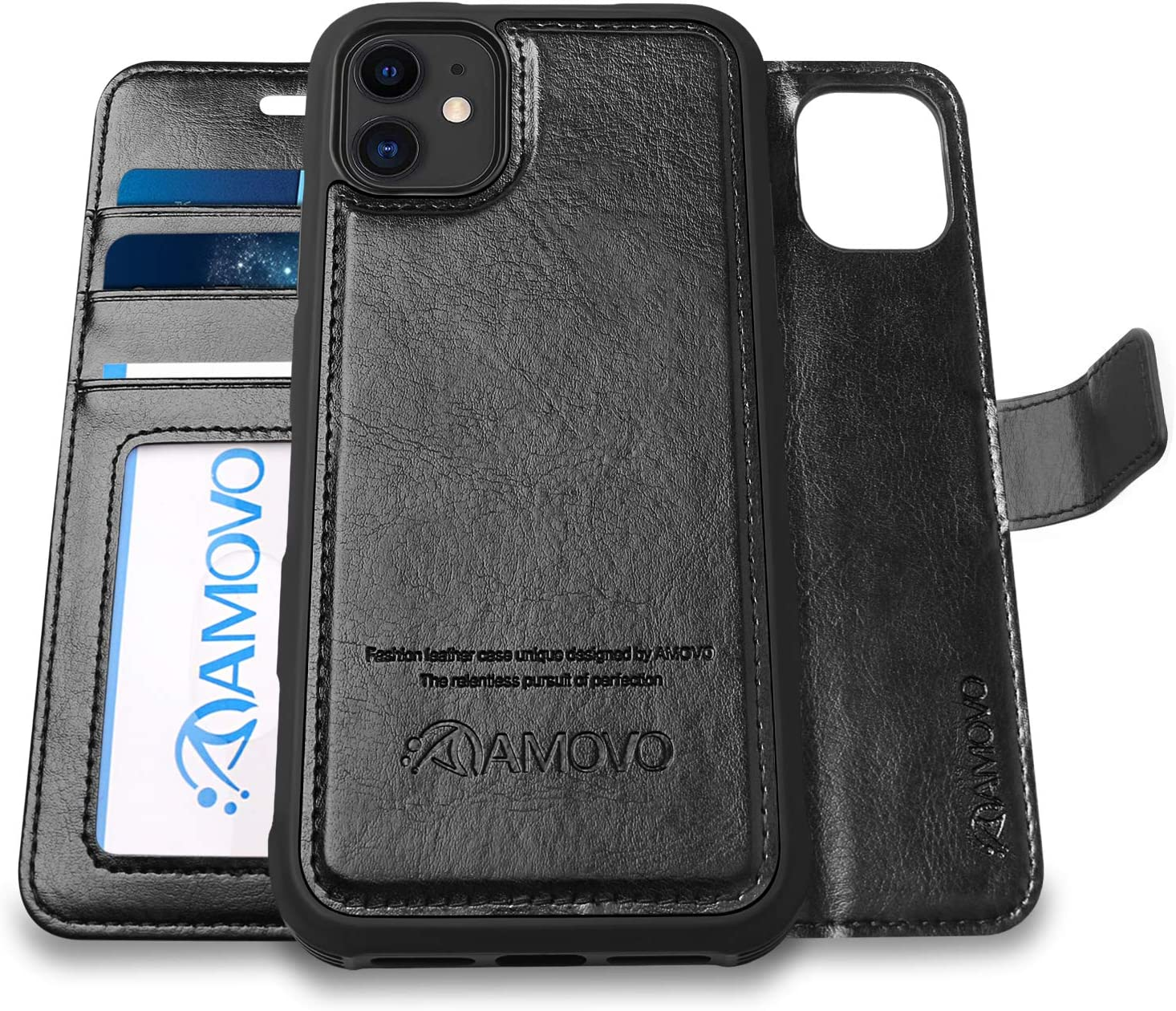 AMOVO Case for iPhone 11 (6.1'') [2 in 1] iPhone 11 Wallet Case Detachable [Vegan Leather] [Hand Strap] [Kickstand] iPhone 11 Flip Folio Case (iPhone 11 (6.1''), Black)