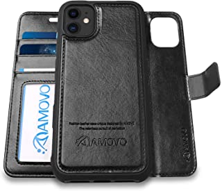 AMOVO Case for iPhone 11 (6.1'') [2 in 1] iPhone 11 Wallet Case Detachable [Vegan Leather] [Hand Strap] [Kickstand] iPhone 11 Flip Folio Case with Gift Box Package (iPhone 11 (6.1''), Black)