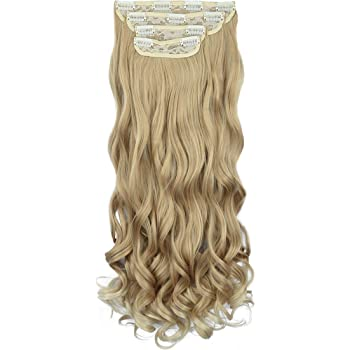 "REECHO 18"" Curly Wavy 4 Pieces Blonde Mixed Clip in on Hair Extensions 25T613"