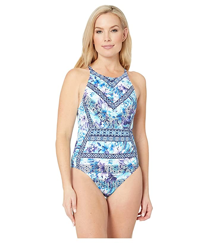 7557c0a06a Tommy Bahama Aqua Petals High Neck One-Piece (White) Women's Swimsuits One  Piece