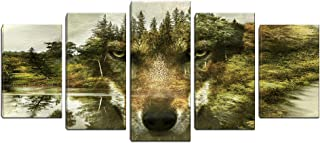 5 Panels Animal Painting Picture Wolf Canvas Print Wall Art Printed on Canvas Framed for Living Room Bathroom Bedroom Office Decor (Green)