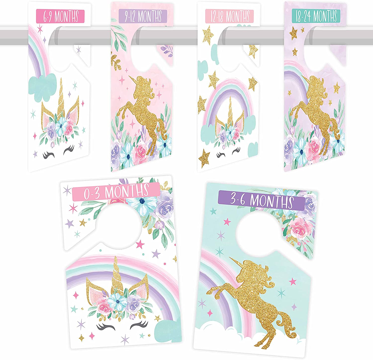 6 Baby Closet Size Dividers Baby Girl - Unicorn Baby Closet Dividers By Month, Baby Closet Organizer For Nursery Organization, Baby Essentials For Newborn Essentials Baby Girl, Nursery Closet Dividers
