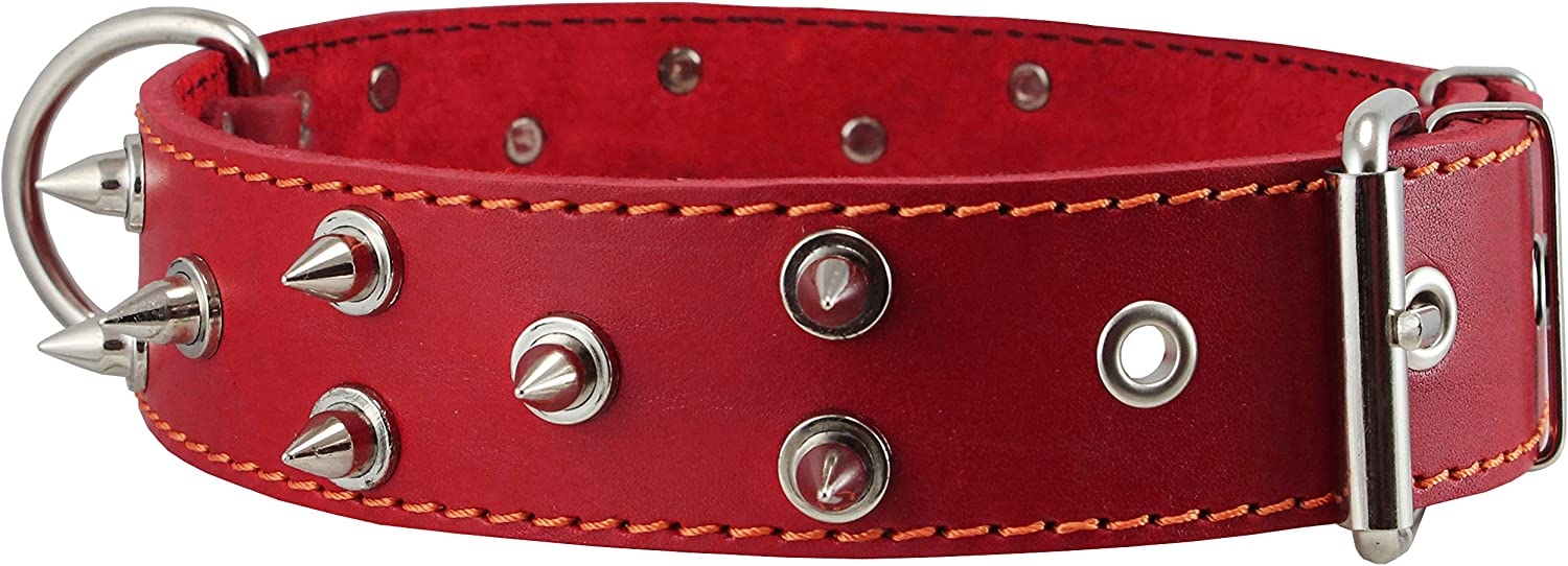 Real Leather Red Spiked Dog Collar Spikes, 1.6  Wide. Fits 19 23  Neck, Large Breeds redtweiler, Pit Bull.