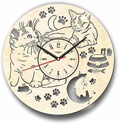 Cats 猫木製掛け時計ー完璧で美しく作られたー現代アートで自宅を飾ろうー彼と彼女にユニークなギフトーサイズ12インチ(30 ㎝)