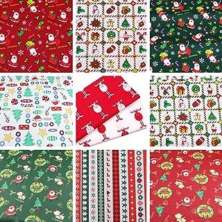 Hanjunzhao Christmas Fabric Fat Quarters Fabric Bundles,100% Cotton Quilting Fabric for Sewing Crafting,10 Pcs 18