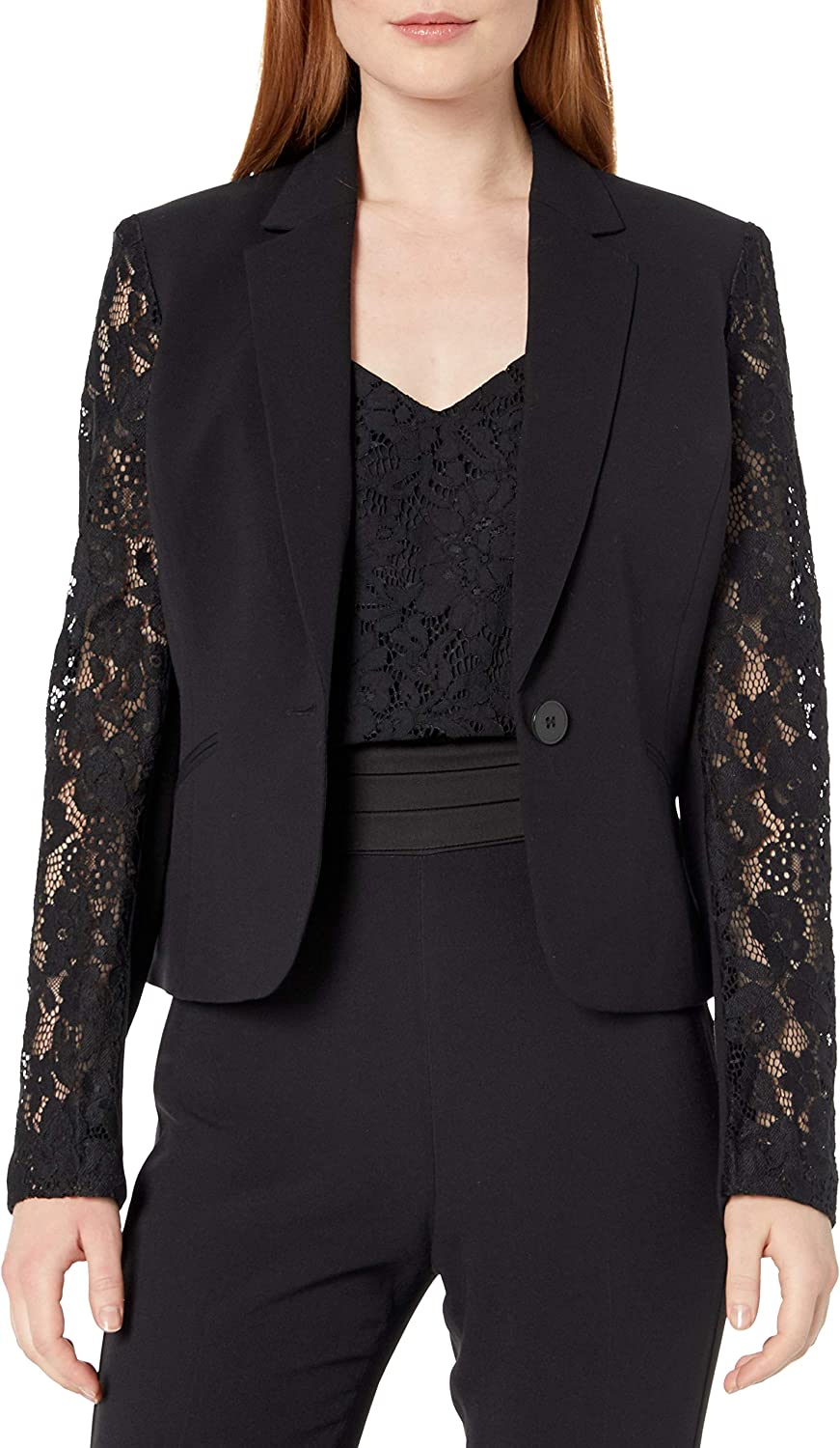 NINE WEST Women's Solid Crepe Sleeves Jacket Lace free Nashville-Davidson Mall shipping with