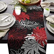 T&H XHome Durable Fabric Table Runner,Red Black White Abstract Floral Washable Linen Table Runners for Home/Kitchen/Dining...