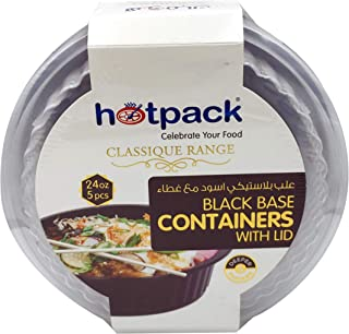 HOTPACK - 5 PIECES BLACK BASE ROUND MICROWAVABLE CONTAINER WITH LIDS 24 OUNCE