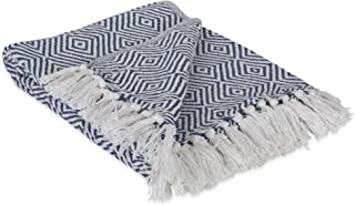 DII 100% Cotton Geometric Daimond Throw for Indoor/Outdoor Use Camping BBQ's Beaches Everyday Blanket, 50 x 60, French Blue