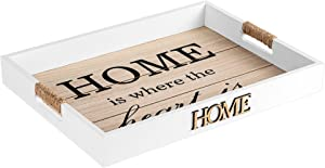 Hendson Serving Tray - Home is Where The Heart is - Wooden Decorative Tray for Ottoman Coffee Table - 16