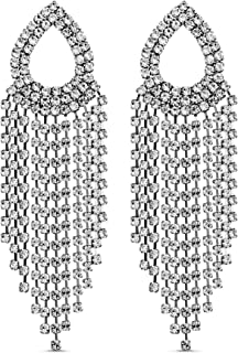 Steve Madden Rhinestone Pear Shaped Fringe Statement Earrings for Women