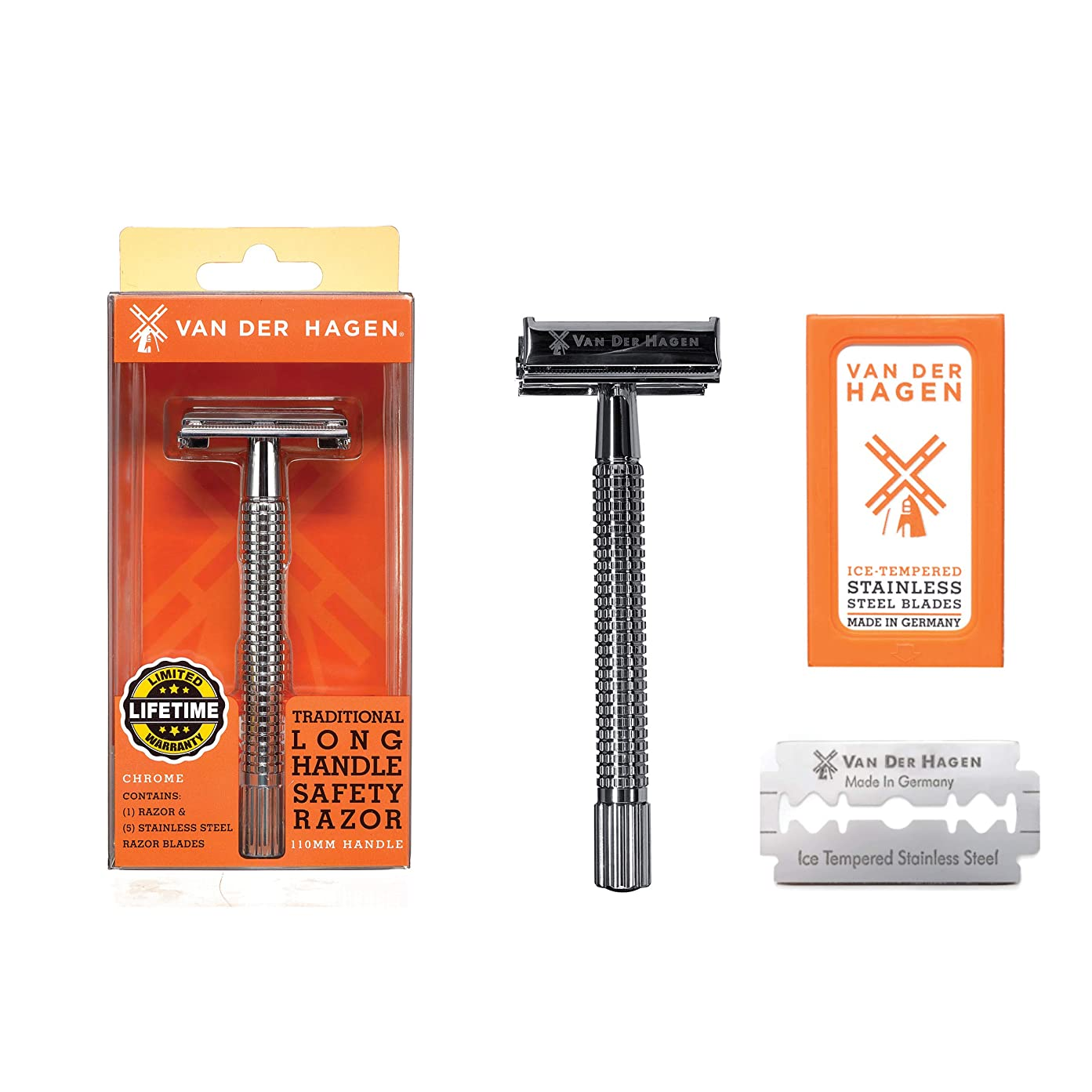 許容できるマイクロ同化Van der Hagen Razors long handle ヴァンデルハーゲンレイザーズロングハンドル安全剃刀, 髭剃り [並行輸入品]
