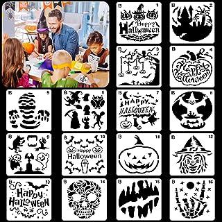 HOWAF 16pcs Halloween Pochoir pour Enfant Artisanat Bricolage Scrapbooking, Plastique Réutilisable Pochoir Halloween Dessi...