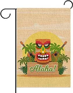 Hawaiian Aloha Totem Garden Flag 12.5×18'' Tiki Bar Luau Party Welcome Sign Summer Tropical Pool Beach Party Decoration Ou...