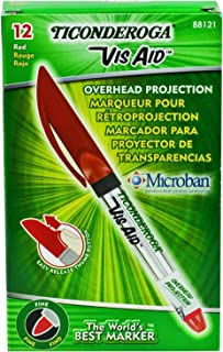 TICONDEROGA Vis-Aid Overhead Projector Transparency Markers, Fine Point, Red, 12-Pack (88121)