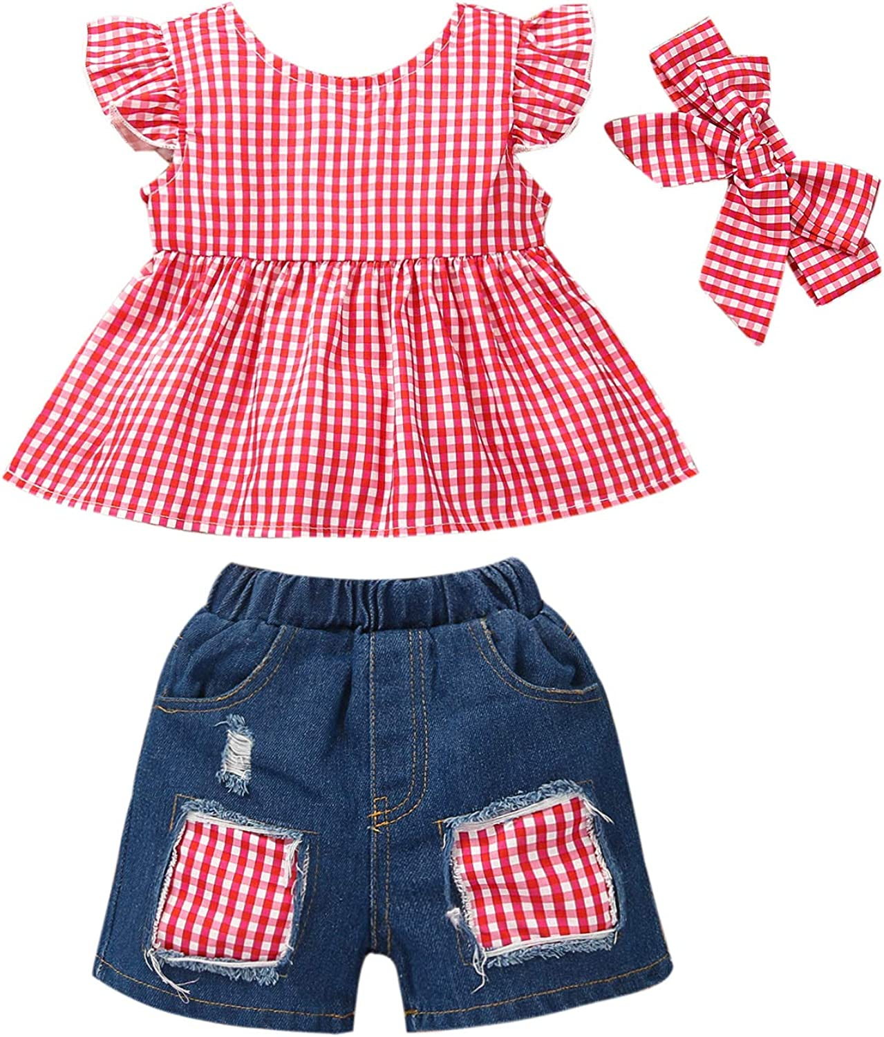 Toddler Baby Girl Ruffle Outfits Shorts+Bo Sleeve shipfree Tops+Denim Fly OFFicial mail order