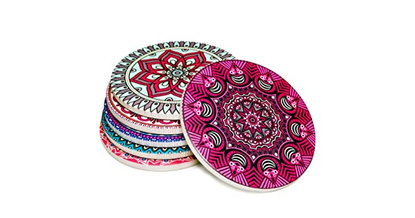 Round 4.3 Diameter 4.3 Diameter Ceramic Thick Save Your Furniture Durable LARGE Colorful Coasterland Absorbent Stone Coasters For Drinks Perfect Gift Different Mandala Designs SET of 6 Beautiful