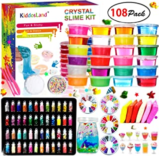 DIY Crystal Slime Kit – Slime kits for Girls Boys Toys with 48 Glitter Powder,Clear Slime Supplies for Kids Art Craft,Includes Air Dry Clay, Fruit Slice and Tools,Squeeze Stress Relief Toy (24 Colors)