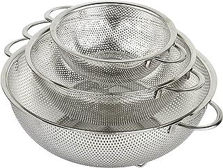 HÖLM - Juego de coladores de malla de acero inoxidable microperforada de 3 piezas (1 2,5 y 4,5 litros) - Escurridor de pas...