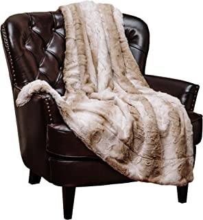 Chanasya Fuzzy Faux Fur Elegant Throw Blanket – Falling Leaf Pattern with Plush..