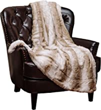 Chanasya Super Soft Fuzzy Fur Elegant Throw Blanket | Faux Fur Falling Leaf Pattern with Fluffy Plush Sherpa Warm Brown Microfiber Blanket for Bed Couch Living Bed Room - Coffee and White - (60x70)