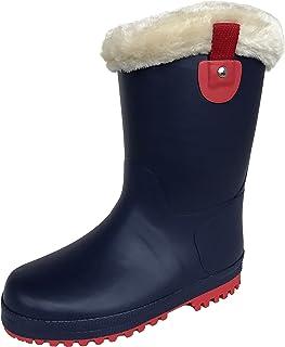 長靴 雨靴 防水 防寒 スパイク ウレタン ボア レインシューズ 通学 2色 ガールズ (22.0 cm, ネイビー)