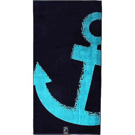 jilda-tex Strandtuch 90x180 cm Badetuch Strandlaken Handtuch 100% Baumwolle Velours Frottier Pflegeleicht (Nordic Blue)
