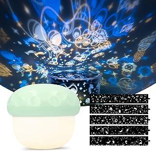 Navaris Proyector de luz infantil - Luces de estrellas para el techo - Lámpara de noche para cuarto niño y niña - 5 diseños de dibujos - Luz verde