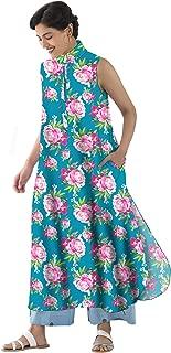 RADANYA Floral Printed Full Sleeve Cotton Ethnic Kurta Kurti for Women's