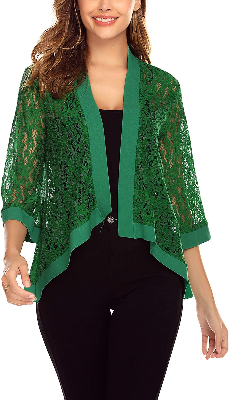 Dealwell Women's Lace Cardigan Lightweight 3 4 Sleeve Dressy Shrug Summer Jacket