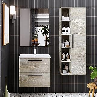 Crocket meuble salle de bain wc Aragats + vasque + miroir + colonne de bain Olan - en bois chêne - meuble sous lavabo de r...