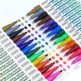 Paint Pens, Shuttle Art 30 Pack Acrylic Paint Markers with Extra-Fine and Fine Tip, Low-Odor Water-Based Quick Dry Paint M...