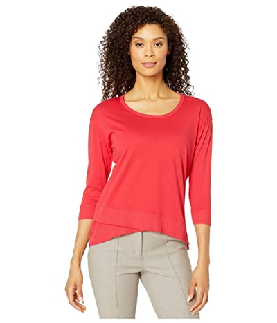Mod-o-doc Supreme Jersey 3/4 Sleeve Tee with Crossover Rib Hem (Cherry Red) Women