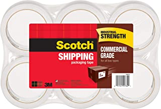 Scotch Commercial Grade Shipping Packaging Tape, 6 Rolls, Excellent Holding Power, 3
