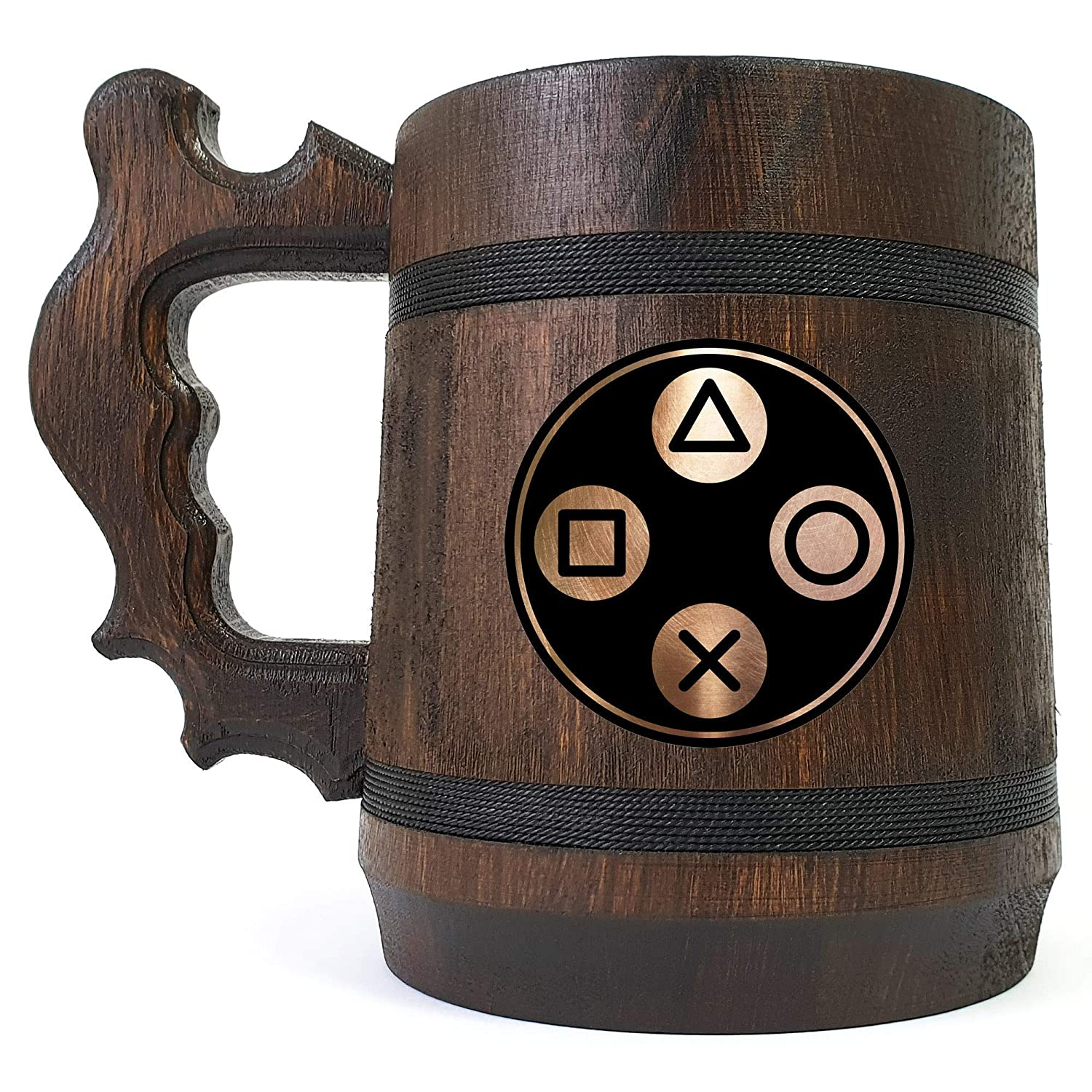 Cheap sale PlayStation Buttons Beer Stein Personalized Him Contr Max 81% OFF For Gift