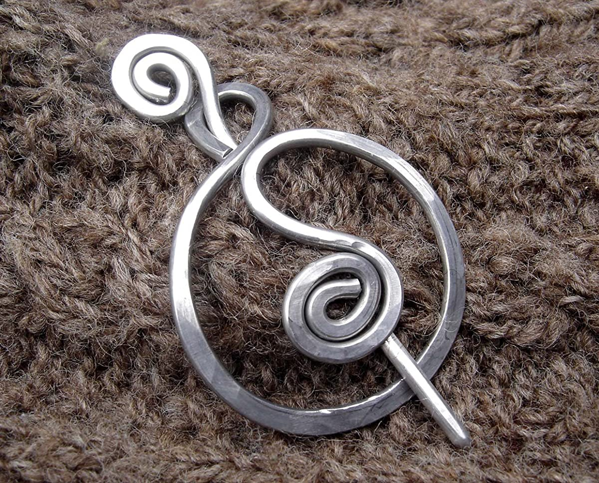 Spiral Circle Shawl Pin, Aluminum Sweater Brooch, Pin for Crocheted or Knit Scarf, Knitter Gift