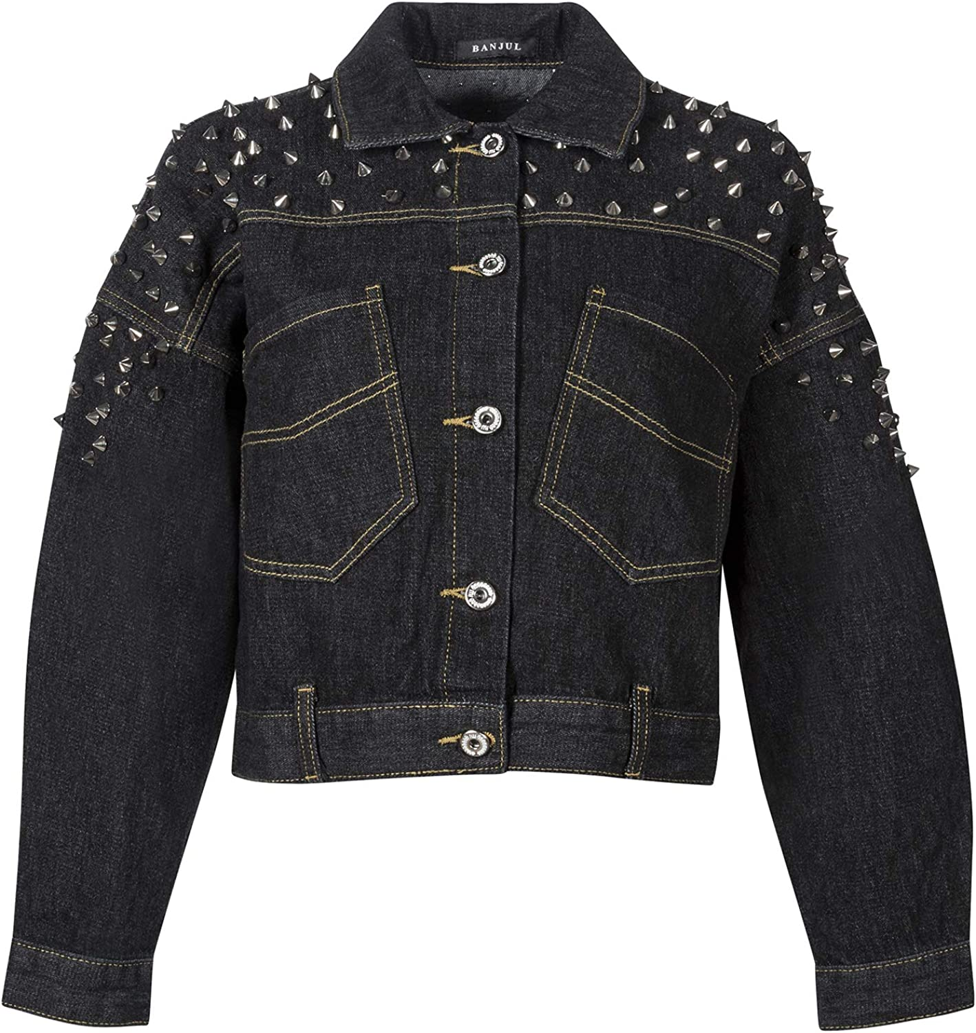 Womens Cropped Length Studded Black Denim Jean Jacket with Spike Studs