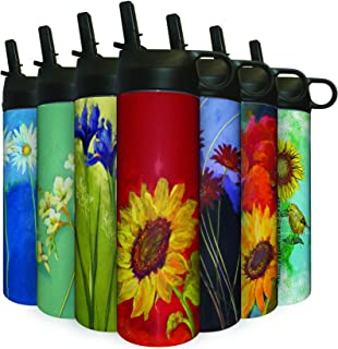 CoasterStone Tumbler, 17 oz, Sunflower Prima Donna Double Insulated Stainless Steel Water Bottle with Spill Proof Collapsa...