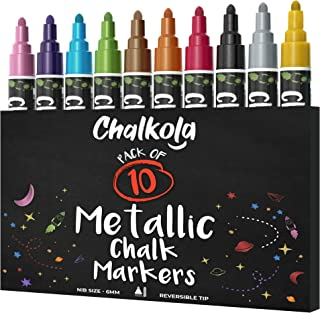 Metallic Chalk Markers (10 Pack) Liquid Chalk Pens - For Blackboards, Chalkboard, Bistro Menu, Window - Wet Wipe Erasable ...