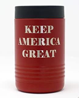 Thomas And Son - Cold Beverage Can Cooler - Engraved Keep America Great - Can Insulated Holder - Double Wall Stainless Steel Insulated Beer Can Holder And Bottle Holder - Patriotic Gifts KAG